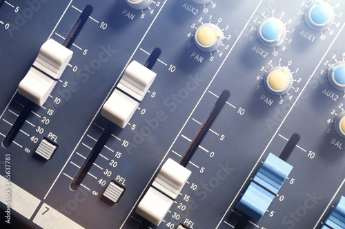 audio mixer top view with flare