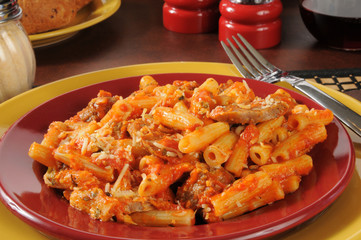 Rigatoni and meatballs closeup