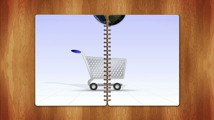 Earth Falling in Cart, e-commerce Concept, Loop