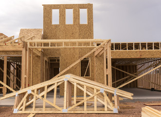 New home under construction wood frame