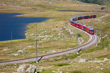 From Tirano part of the red train of Bernina leading in Switzerl