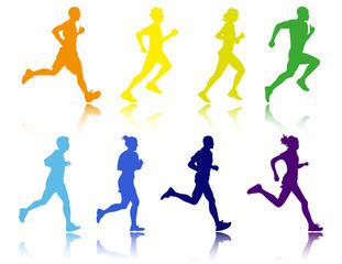 siluetas de gente corriendo