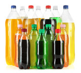 Fototapety Assortment of bottles with tasty drinks, isolated on white