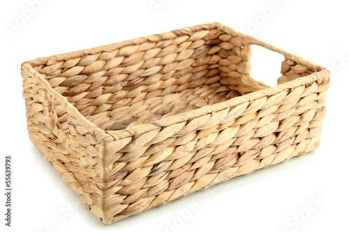 Wicker basket, isolated on white