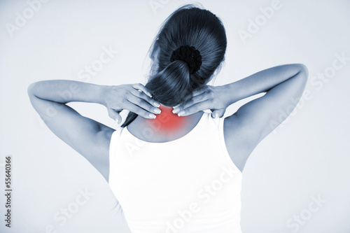 Young girl and pain in neck in shades of grey