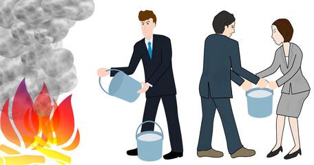 ビジネスマンの消火活動