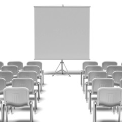 White chairs and screen