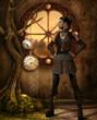 Mädchen im Steampunk Outfit