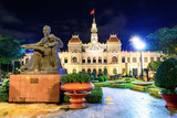 Night scene of the Ho Chi Minh City Hall in Saigon, Vietnam.