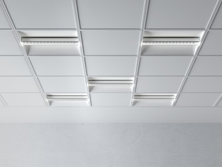 fluorescent lamp on the ceiling