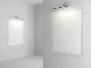 white Interior with empty frames