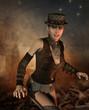 freundliches Mädchen im Steampunk Look