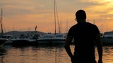 Man Talking on Cellphone at Yacht  Harbour Vacation HD
