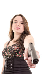 Beauty girl with revolver