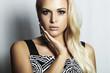 Beautiful fashion blond woman in dress.beauty girl.make-up