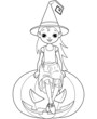 Little Halloween Witch coloring page