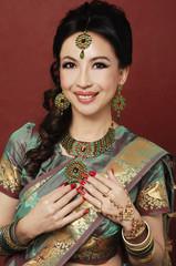 Asian beautiful woman wearing luxurious wedding dress