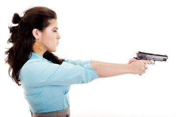 professonal woman with gun pointing