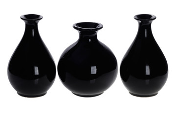 Three Black Wine Bottles