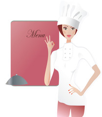 Chef. Woman in cooker uniform showing Ok sign