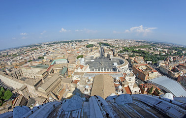 panoramic view of the city of Rome from above the dome of the Ch