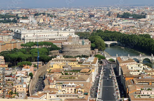 view of the city of Rome with Castel Sant Angelo