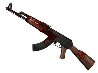 fusil d'assaut AK 47 ensanglanté 3D sur fond blanc