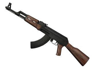 fusil d'assaut AK 47 3D sur fond blanc