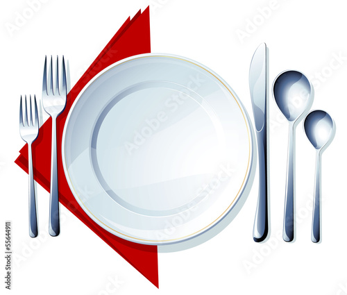 Tableware on a white background with a red cloth. Vector.