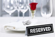 Reserved table at romantic restaurant