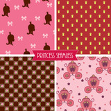 Princess seamless. Four different patterns