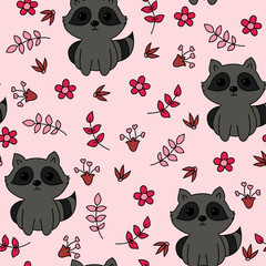 Childish seamless wallpaper with cute raccoon