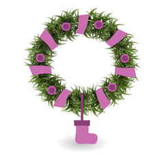 Illustration with Christmas wreath