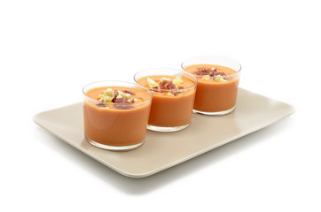 glasses with gazpacho, Spanish traditional food
