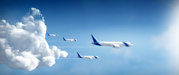 Airplanes fly away