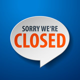 Closed 3d Speech Bubble on blue background