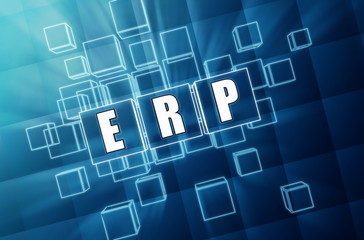 ERP in blue glass cubes - business concept