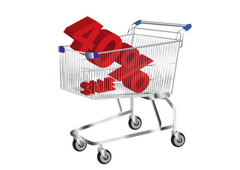 shopping cart with SALE and 40% Symbol inside vector images