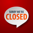 Closed 3d Speech Bubble on red background