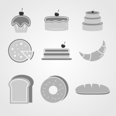 Variety of bakery icons on grey background