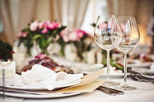 Empty glasses set in restaurant - 55648761