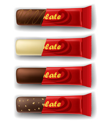 Chocolate bar in package set