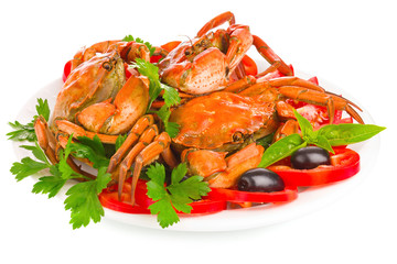 fresh crab with vegetable and greens