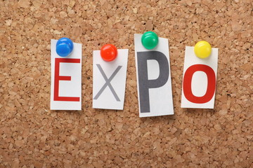 The word Expo on a cork notice board