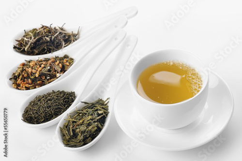 Different sorts of green tea