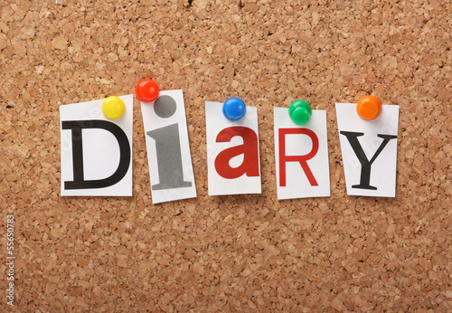 The word Diary on a cork notice board
