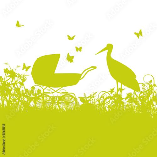 Storch und Kinderwagen