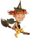 Little Halloween witch learning to fly on a broom