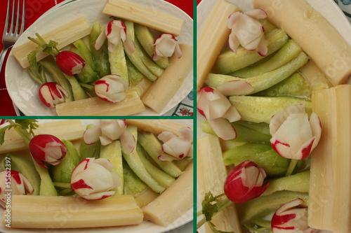 Assiette de crudités: Coeur de palmier   Radis . . .