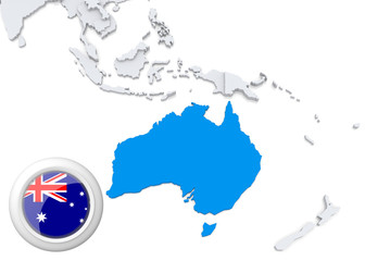 Map of australia with national flag
